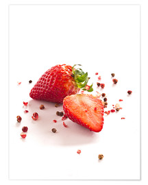 Premium poster Strawberries with red peppercorns