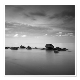 Premium poster Stones on the sea beach - black and white