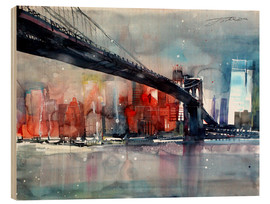 Wood print  New York, Brooklyn Bridge IV - Johann Pickl