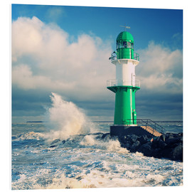 Foam board print  Green lighthouse in the surf II - Thomas Deter