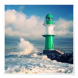Premium poster Green lighthouse in the surf II