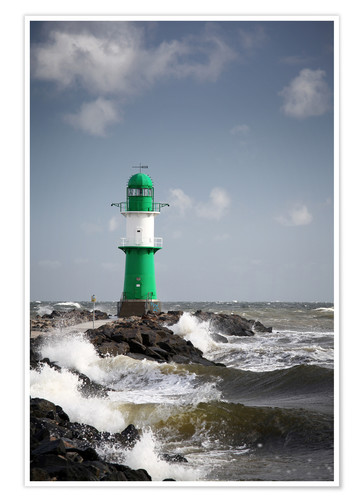Premium poster Green lighthouse in the surf I