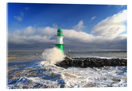 Acrylic print  Green lighthouse in the surf III - Thomas Deter