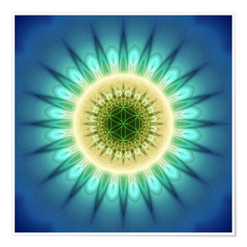 Premium poster mandala blue light with Flower of Life