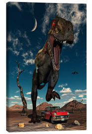 Canvas  A Tyrannosaurus Rex about to crush a Cadillac with his feet. - Mark Stevenson