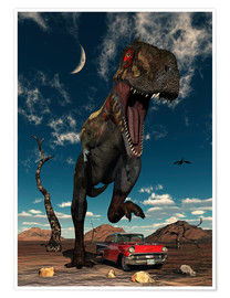 Poster  A Tyrannosaurus Rex about to crush a Cadillac with his feet. - Mark Stevenson