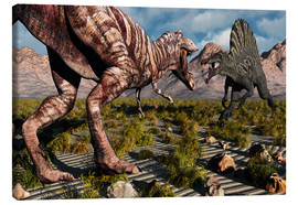Canvas print  A confrontation between a T. Rex and a Spinosaurus dinosaur - Mark Stevenson