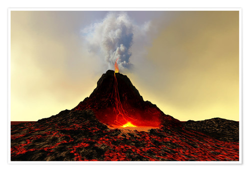 Premium poster An active volcan