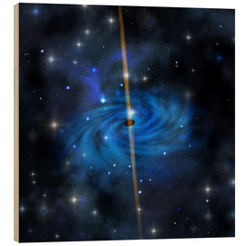 Wood print  A dense star cluster forms this galaxy out in space. - Corey Ford