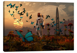 Canvas  A astronaut is greeted by a swarm of butterflies on an alien world. - Mark Stevenson