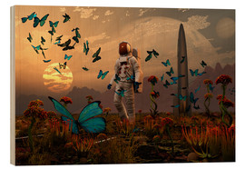 Wood print  A astronaut is greeted by a swarm of butterflies on an alien world. - Mark Stevenson