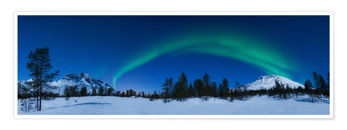 Premium poster Aurora Borealis over Nova Mountain Wilderness, Norway