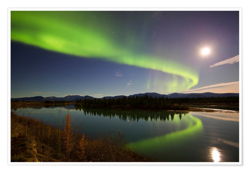 Premium poster Aurora Borealis over the Yukon River