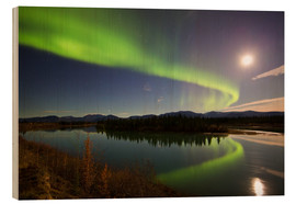 Wood print  Aurora Borealis over the Yukon River - Joseph Bradley