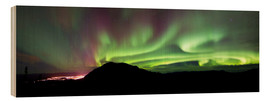 Wood print  Aurora Borealis over Gray Peak - Joseph Bradley