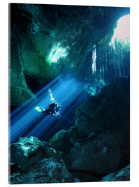 Acrylic print  Diver silhouetted in sunrays - Karen Doody