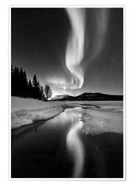 Premium poster Aurora Borealis over Sandvannet Lake in Troms County, Norway
