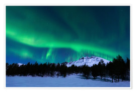 Premium poster Aurora Borealis over Nova Mountain Wilderness, Norway.