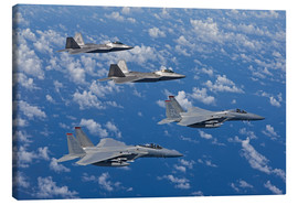 Canvas print  Two F-15 Eagles and F-22 - HIGH-G Productions