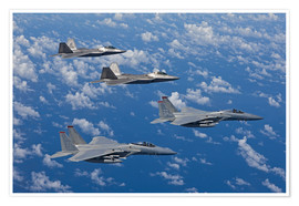 Premium poster Two F-15 Eagles and F-22