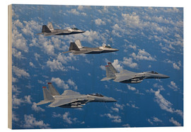 Wood print  Two F-15 Eagles and F-22 - HIGH-G Productions