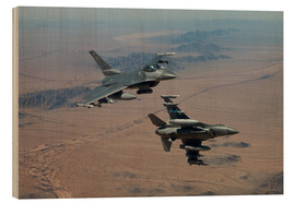 Wood print  Two F16 on a training mission - HIGH-G Productions