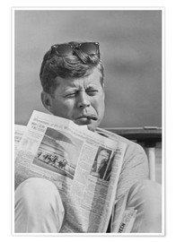Premium poster John F. Kennedy with a newspaper