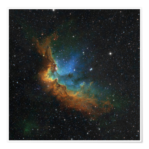 Premium poster NGC 7380 in the Hubble palette colors