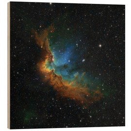 Wood print  NGC 7380 in the Hubble palette colors - Rolf Geissinger