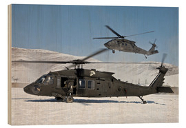 Wood print  Two US Army UH-60 Black Hawk helicopter - Stocktrek Images