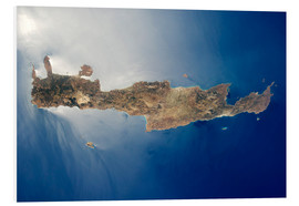 Foam board print  View from space of the island of Crete