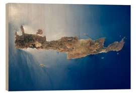 Wood print  View from space of the island of Crete - Stocktrek Images