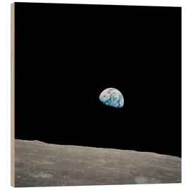 Wood print  Earth from the Moon - Stocktrek Images