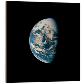 Wood print  View of the Earth from the spacecraft Apollo 13