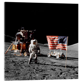 Acrylic print  Apollo 17 astronaut stands near the United States flag - Stocktrek Images