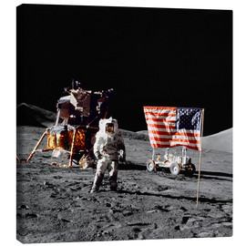 Canvas print  Apollo 17 astronaut stands near the United States flag - Stocktrek Images