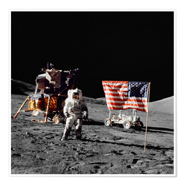 Premium poster  Apollo 17 astronaut stands near the United States flag - Stocktrek Images
