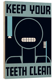 Wood  Vintage WPA poster of a cartoon showing it's shiny white teeth. - John Parrot