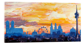 Acrylic glass  Munich Skyline at Dusk with Alps - M. Bleichner