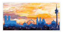 Poster  Munich Skyline at Dusk with Alps - M. Bleichner