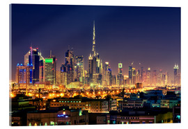 Acrylic print  Dubai skyline at night - Stefan Becker