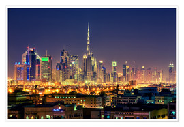 Poster  Dubai skyline at night - Stefan Becker