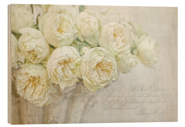 Wood print  White roses - Lizzy Pe