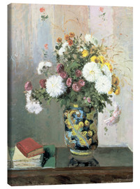 Canvas print  Bouquet of Flowers, Chrysanthemums in a Chinese Vase - Camille Pissarro