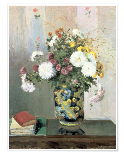 Premium poster Bouquet of Flowers, Chrysanthemums in a Chinese Vase