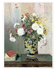 Poster  Bouquet of Flowers, Chrysanthemums in a Chinese Vase - Camille Pissarro