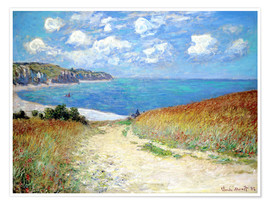Poster  Path in the Wheat at Pourville - Claude Monet
