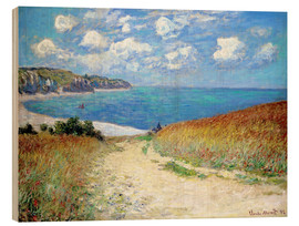 Wood print  Path through the Wheat at Pourville - Claude Monet