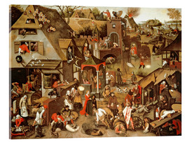 Acrylic print  Netherlandish Proverbs illustrated in a village landscape - Pieter Brueghel d.J.
