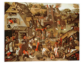 Foam board print  Netherlandish Proverbs illustrated in a village landscape - Pieter Brueghel d.J.